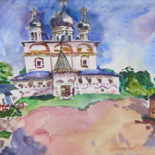Акварельный рисунок Знаменский собор