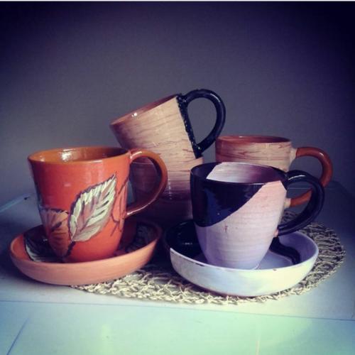 Чайная пара, керамика, ручная работа, цветная глазурь