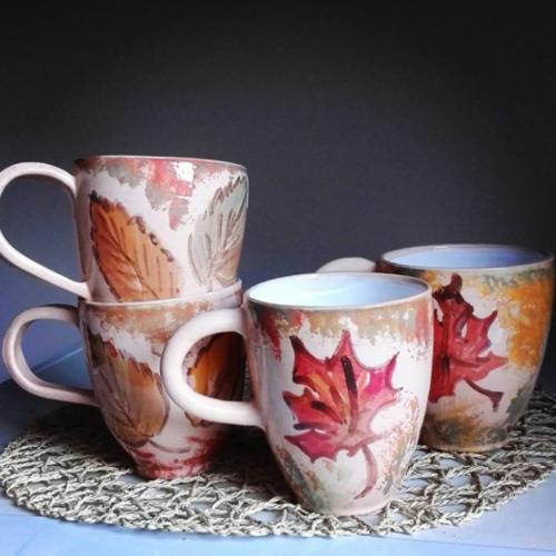 Кружка керамика, ручная работа, цветная глазурь, роспись