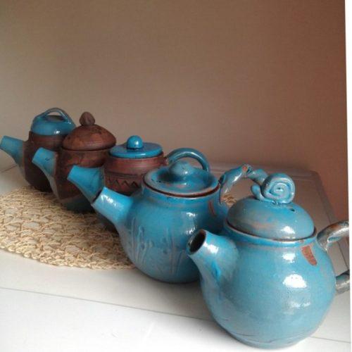 Заварник, чайник, керамика, глазурь, молочный обжиг, ручная работа