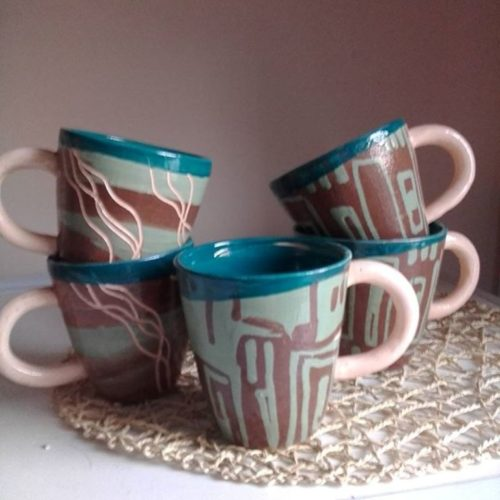 Кружка керамика, ручная работа, цветная глазурь, ангоба