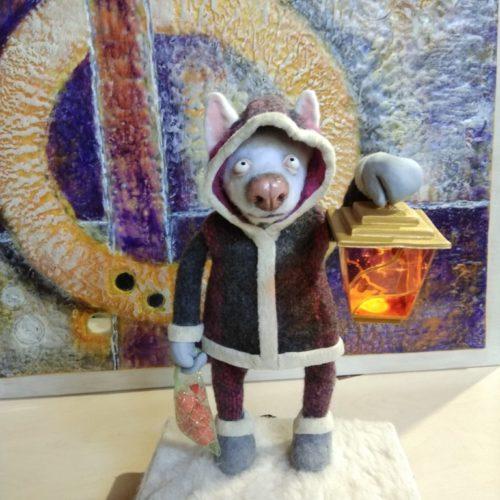авторская кукла, ночник, собака