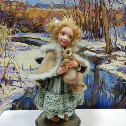 авторская кукла, полимерная глина, смешанная техника