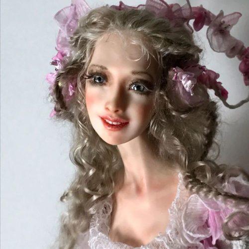 будуарная кукла, авторская работа, полимерная глина