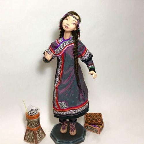 коллекционная кукла, каркасная, смешанная техника