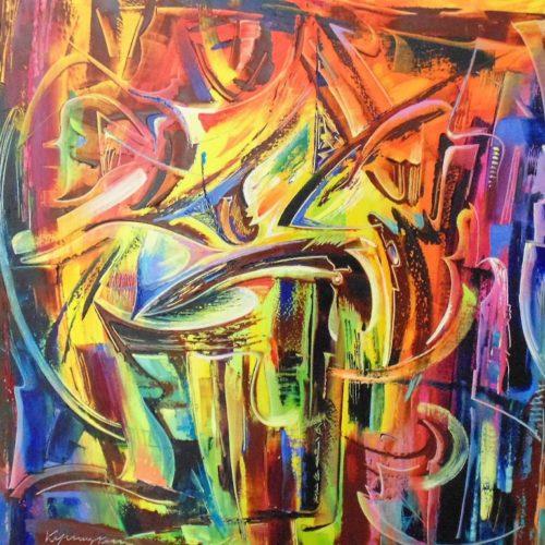 абстракция, масло, холст