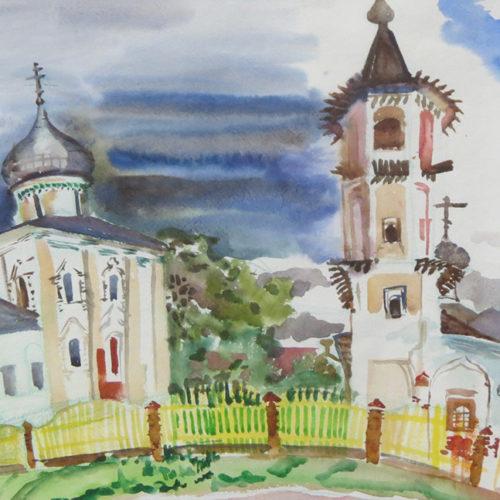 Акварельный рисунок Новгород, старообрядческая церковь