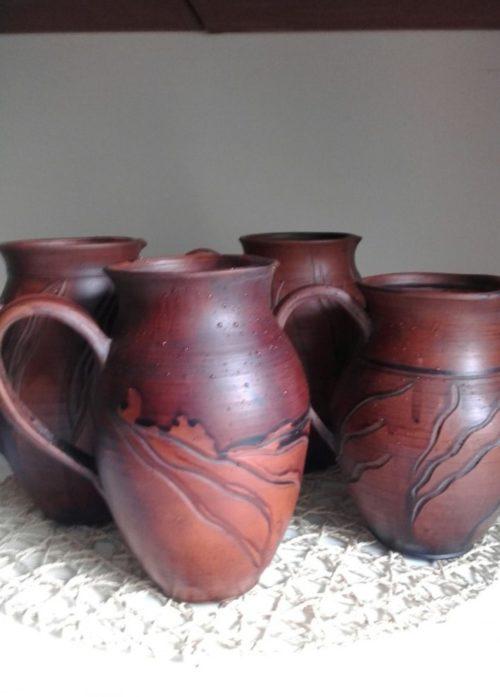 Кувшин керамика, ручная лепка, коричневый, молочный обжиг