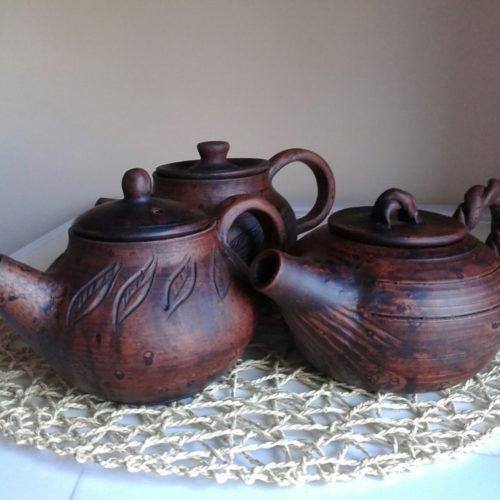 Травник, керамика, молочный обжиг, глина, коричневый, заварник, чайник