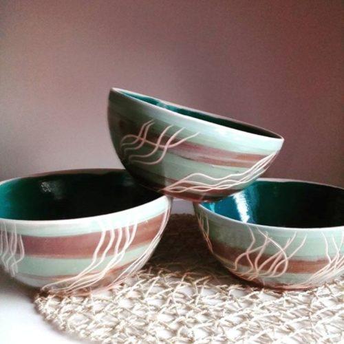 Салатник керамика, ручная работа, цветная глазурь, ангоба