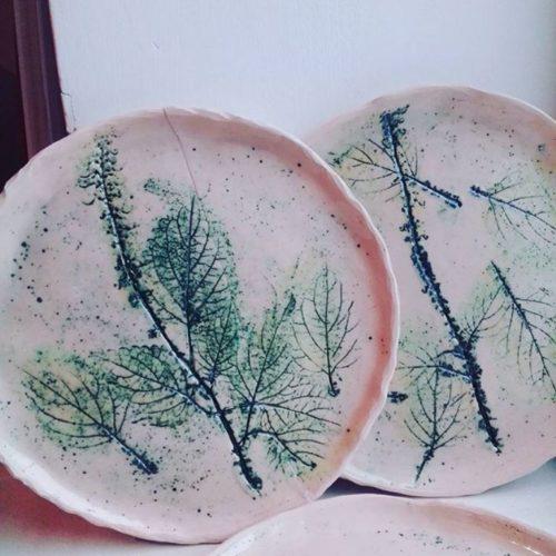 Тарелка керамика, ручная лепка