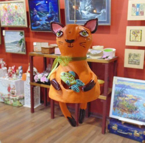 сувенир-колокольчик котик, глина, ручная работа