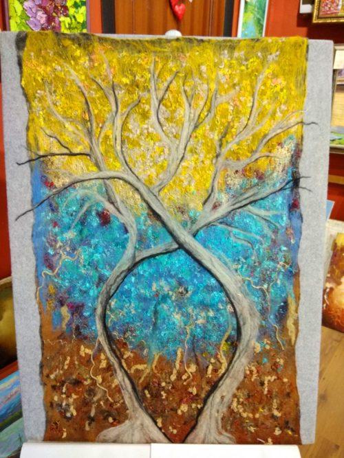 картина из шерсти, деревья
