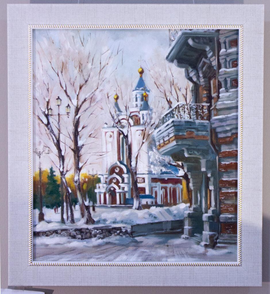 Библиотека, исторический центр Хабаровска, Хабаровск, центральная библиотека, картина с городом, подарок