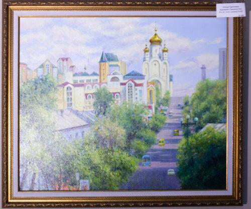 Тургенева, Хабаровск, картина с Хабаровском, картина в подарок, подарок на память о Хабаровске, городской пейзаж