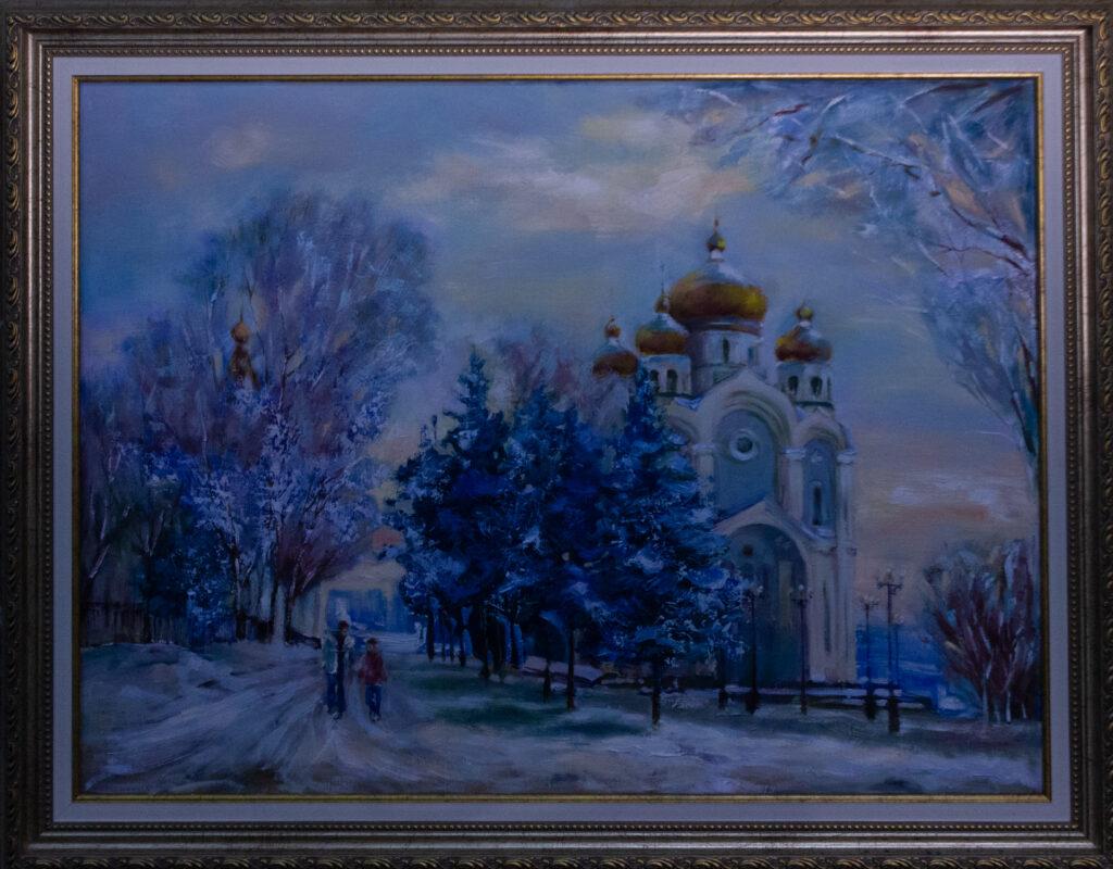 Площадь Славы, собор, картина с городом Хабаровском, Хабаровск, картина в подарок, картина на память о городе