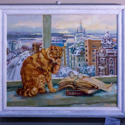 кот на окне, картина с котом, рыжий кот, книги на подоконнике. картина в подарок