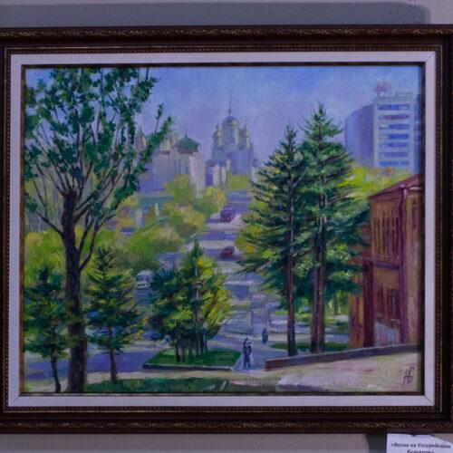 Хабаровск, картина с Хабаровском, центр Хабаровска, картина в подарок с городом, подарок на память, подарок на память о городе Хабаровске