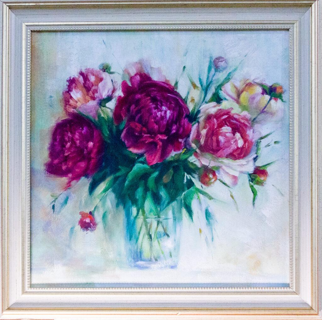 пионы, букет пионов, цветы, цветы в подарок, картина в подарок, подарок, картина с пионами