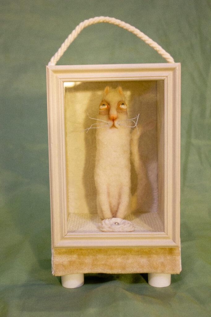 ночник, котик, котик ночник, оригинальный подарок, белый котик, авторская кукла