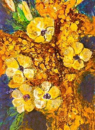 энкаустика, картина с цветами